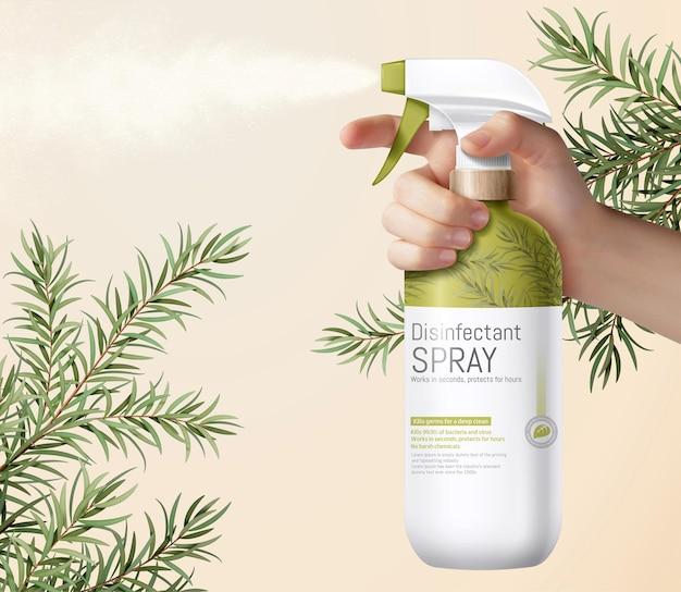 Mão realista segurando um spray de gatilho verde relvado decorado com folhas de tea tree etéreo
