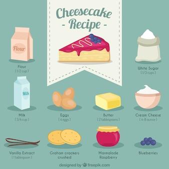 Mão receita cheesecake desenhada