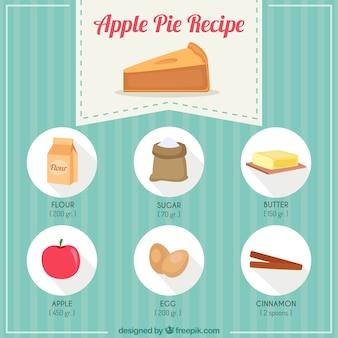 Mão receita de torta de maçã desenhada