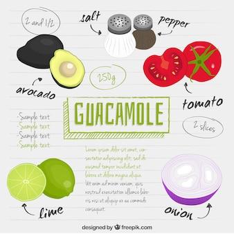 Mão receita guacamole desenhada