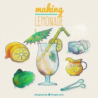 Mão receita limonada pintado