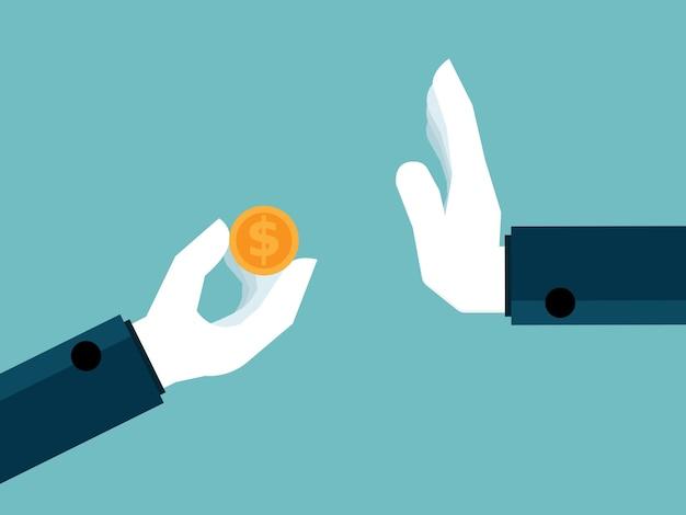 Mão recusando receber dinheiro, sem corrupção