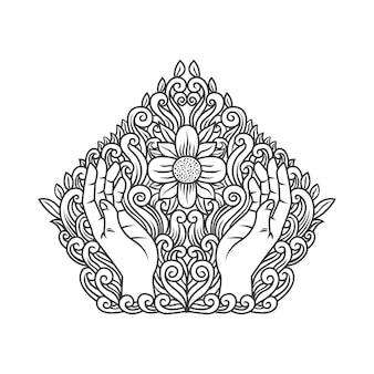 Mão rezando com flor