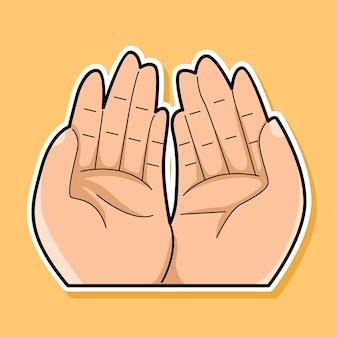 Mão rezando desenho animado
