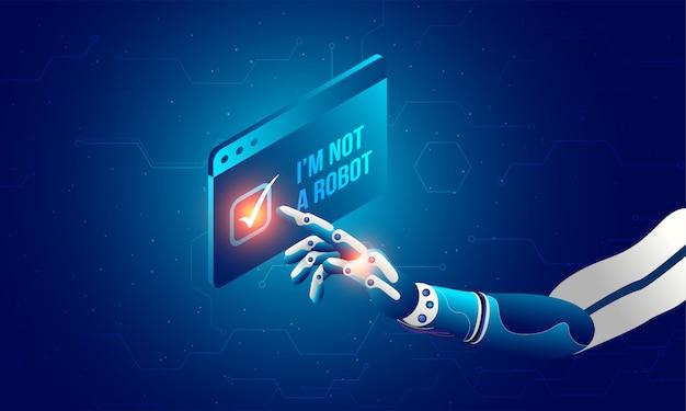 Mão robótica clicando no captcha 'eu não sou um robô'.