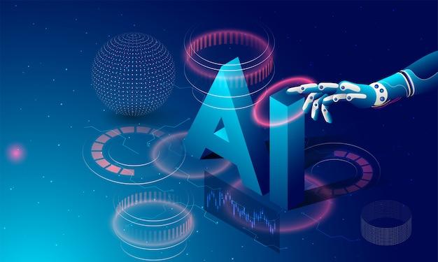 Mão robótica clicando, texto isométrico ai.