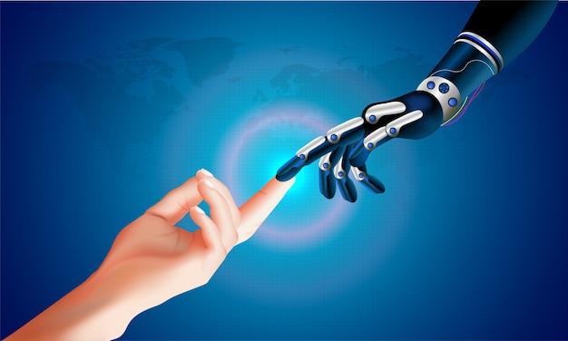 Mão robótica e mão humana conectando em um espaço virtual.