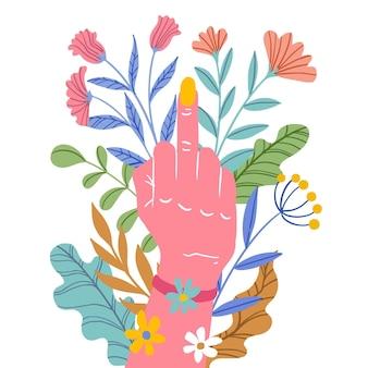 Mão rodeada de flores mostrando sinal de porra