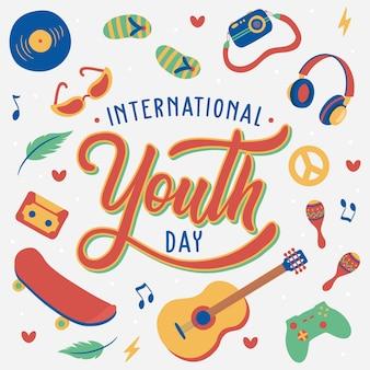 Mão rotulando o dia internacional da juventude