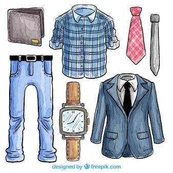 Mão roupa masculina desenhada