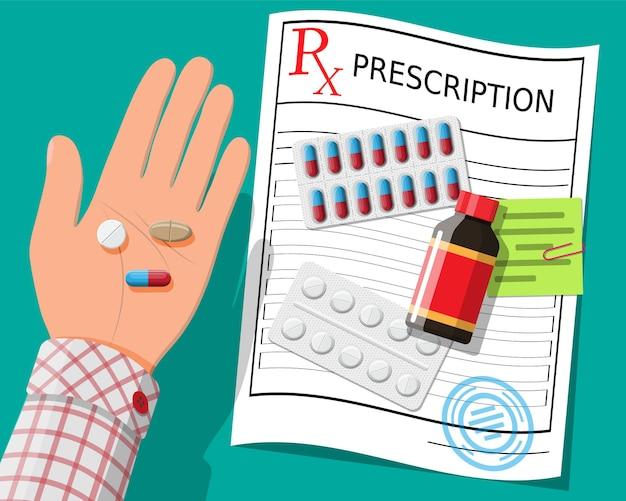 Mão, rx de prescrição, pílulas, cápsulas para tratamento de doenças e dor.