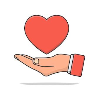 Mão segura a ilustração do ícone do coração do amor isolada