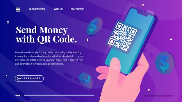 Mão segura a página da web de código qr de digitalização de telefone