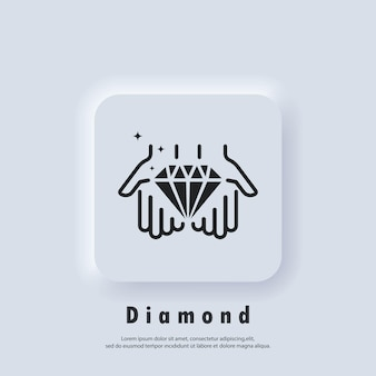 Mão segura diamante. ícone de linha do conceito de valor. gema de diamante em ícone de mão, cristal de luxo ou joia de contorno brilhante. vetor eps 10. botão de web de interface de usuário branco neumorphic ui ux. neumorfismo