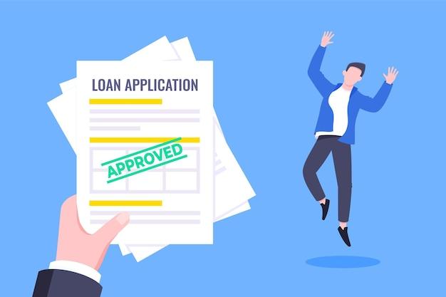 Mão segura documento de folhas de papel de solicitação de aprovação de empréstimo