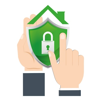 Mão segura escudo casa segurança