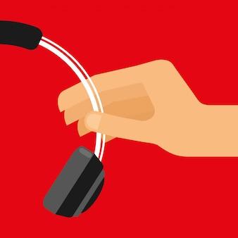 Mão segura fones de ouvido