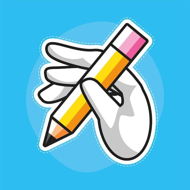 Mão segura lápis