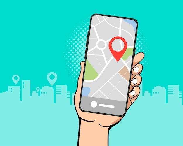 Mão segura mapa de navegação por gps no smartphone em estilo quadrinhos retro vintage pop art
