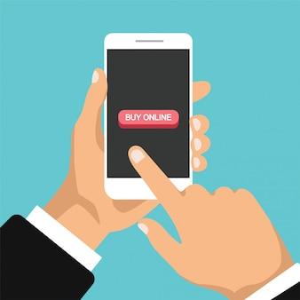 Mão segura o smartphone e comprar on-line. grande botão vermelho na tela do telefone. homem clique na tela do smartphone. ilustração plana. isolado.