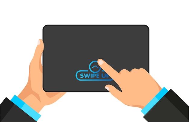 Mão segura o tablet digital com botão de acesso rápido para mídia social em uma tela.