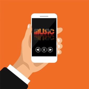 Mão segura o telefone com mp3 player ou gravação na tela. ilustração vetorial