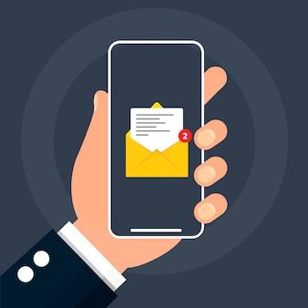 Mão segura o telefone com uma mensagem na tela.