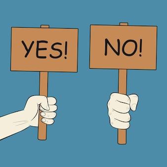 Mão segura placas de sinal com letras sim e não pôster de aprovação e placa de protesto