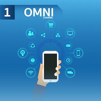Mão segura smartphone usar omnichanne