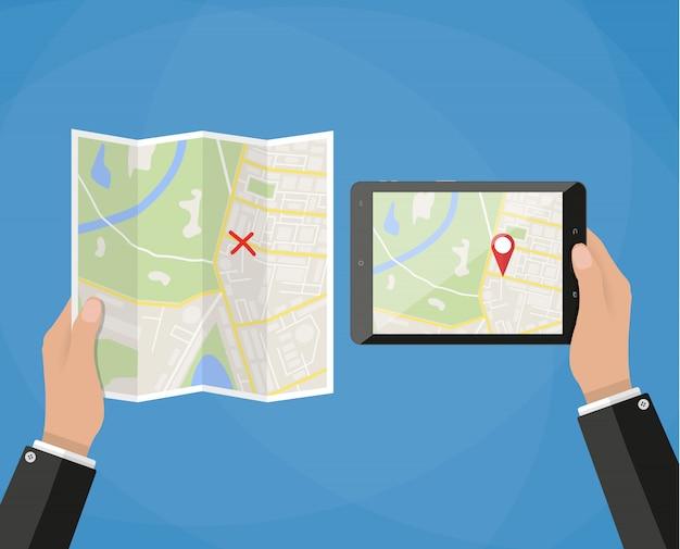 Mão segura tablet com mapa da cidade
