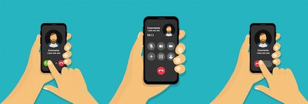 Mão segura um telefone com uma chamada recebida. interface de chamada recebida em estilo cartoon.