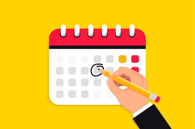 Mão segura uma caneta e desenha um círculo no calendário ícone do calendário calendário de datas de marca de prazo