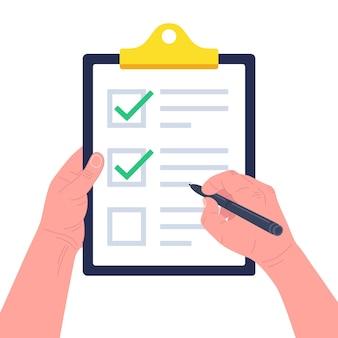 Mão segurando a área de transferência com uma lista de verificação com marcas de seleção verdes e uma caneta. conceito de pesquisa, questionário, lista de tarefas ou acordo. ilustração.