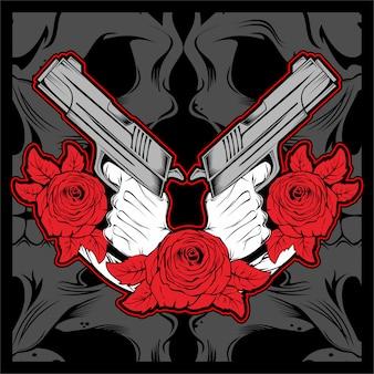 Mão segurando a arma com rosa