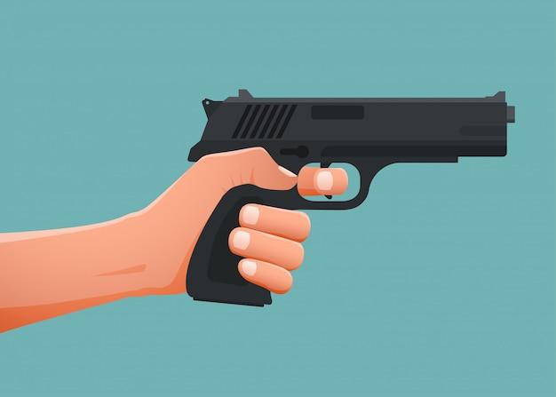 Mão segurando a arma shoting.