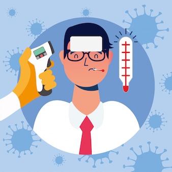 Mão segurando a arma termômetro, verificando a temperatura do homem