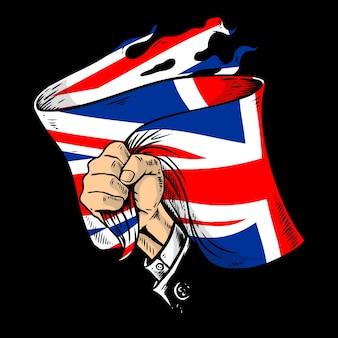 Mão segurando a bandeira da union jack
