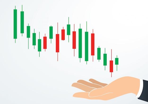Mão segurando a bolsa de valores de gráfico de velas