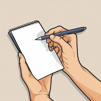 Mão segurando a caneta e o bloco de notas