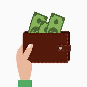 Mão segurando a carteira com dinheiro, bolsa com notas. ilustração vetorial.