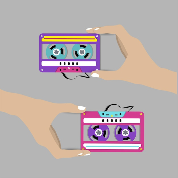 Mão segurando a cassete. ilustração.