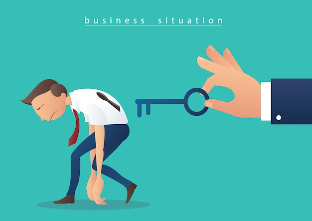 Mão segurando a chave grande e empresários com furo chave
