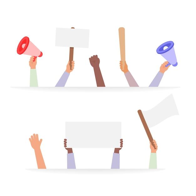Mão segurando a coleção de vetores de cartazes de protesto, cartazes rebeldes em pessoas de mãos definir ilustração de multidão ativista.
