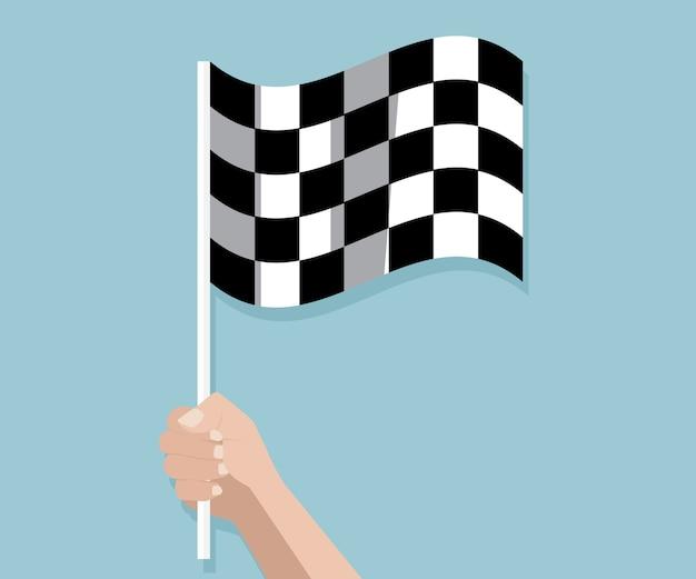 Mão segurando a corrida quadriculada terminar ilustração em vetor bandeira