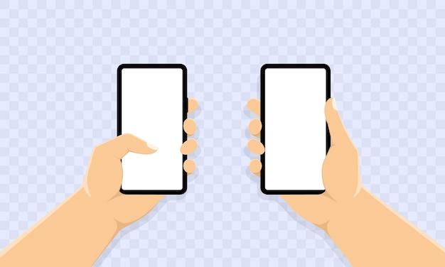 Mão segurando a faixa do telefone