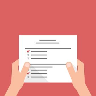 Mão segurando a folha com o teste do exame. conceito de preenchimento de formulário de imposto, avaliação de papelada, rotina, lembrete de trabalho, pessoa, correspondência. ilustração em vetor design moderno tendência estilo plano em fundo vermelho