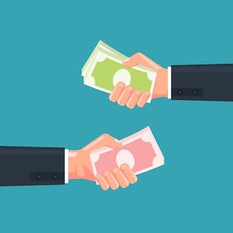 Mão segurando a ilustração de dinheiro