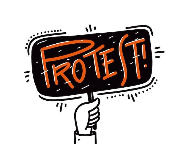 Mão segurando a ilustração de protesto isolada no fundo branco.