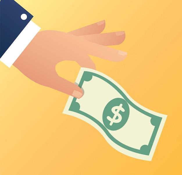 Mão segurando a ilustração de vetor de dinheiro dólar