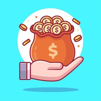 Mão segurando a ilustração do saco de dinheiro isolada finanças logo vector icon ilustração em estilo simples